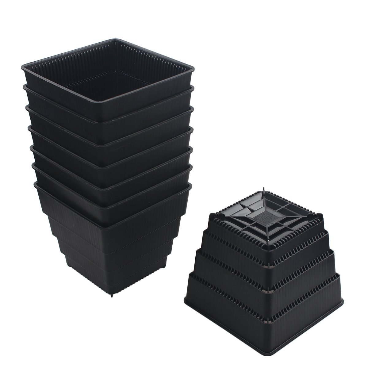 BangQiao 4.95 Inch Plastic Square Flower and Succulent Nursery Plant Pot/Planter/Container,Pack of 8 (L, Black)