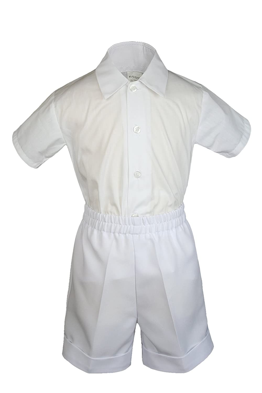 0-6 months S: 5pc White Baby Little Boy Christening Baptism Shorts Vest Set Hat S-4T