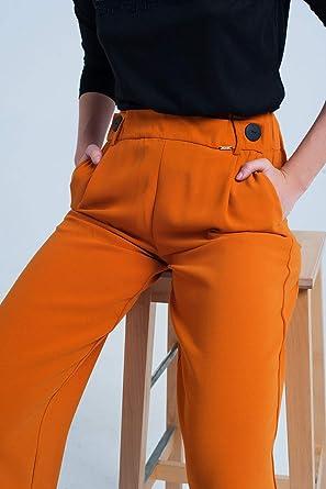 Q2 Pantalon Ancho De Color Naranja Con Botones M Mujeres Amazon Es Ropa Y Accesorios