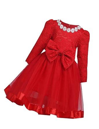 Vestido Fiesta Encaje Princesa Rojo-Otoño Invierno Manga Larga ...