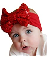 Voberry Baby Girls Photo Props Turban Cotton Sequins Bow Headband Soft Head Wrap