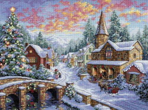 """ディメンジョンズ クロスステッチ 刺繍キット""""クリスマスを待つ村"""" Dimensions Needlecrafts Counted Cross Stitch Holiday Village DIM クロスステッチキット Holiday Village 【並行輸入品】"""