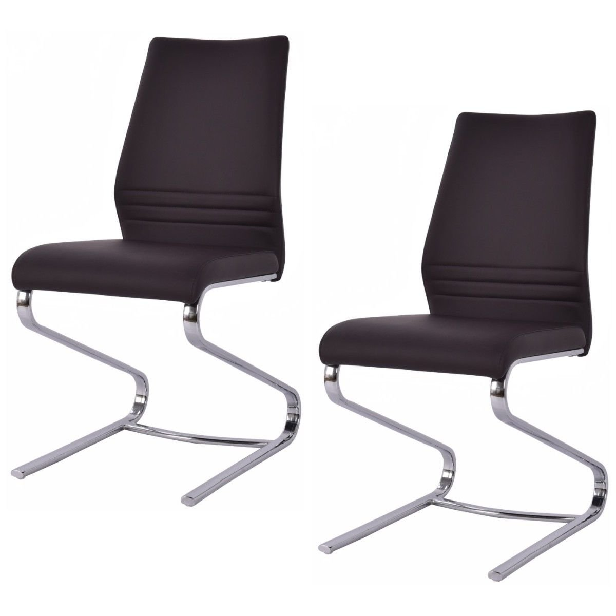 Giantex Set Of 2 Dining Chairs PU Leather High Back Modern Elegant Design Home Furniture (2Brown)