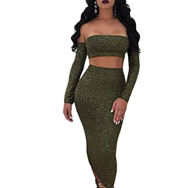 a1eb274a93c9 Longwu Women's Sexy Sparkly Bandage Off Shoulder 2 Pieces Dress Shining  Backless Tube Top + Midi Skirt