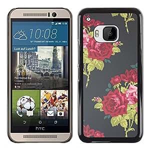 "Pulsar Snap-on Series Teléfono Carcasa Funda Case Caso para HTC One ( M9 ) , Rose Bouquet Wallpaper Vignette"""