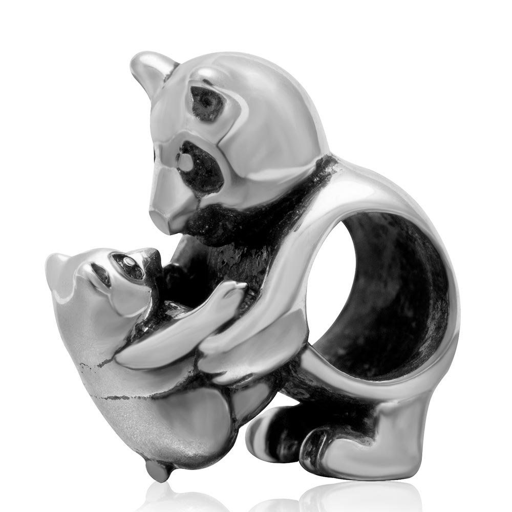 Ollia Jewelry 925 Sterling Silver European Style Beads Mother with Baby Bear Panda Charm Sweet Parent-Child Time Family Love Charms