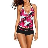 Women Swimwear, Internet Sexy Tankini Sets With Boy Shorts Ladies Swimwear Two Piece Swimsuits (XL, Red)