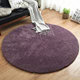 WAN SAN QIAN- Living Room Round Carpet Modern Simple Bedroom Carpet Home Economy Rug Solid Color Rug Sofa Carpet Rug ( Color : Purple , Size : 160x160cm )