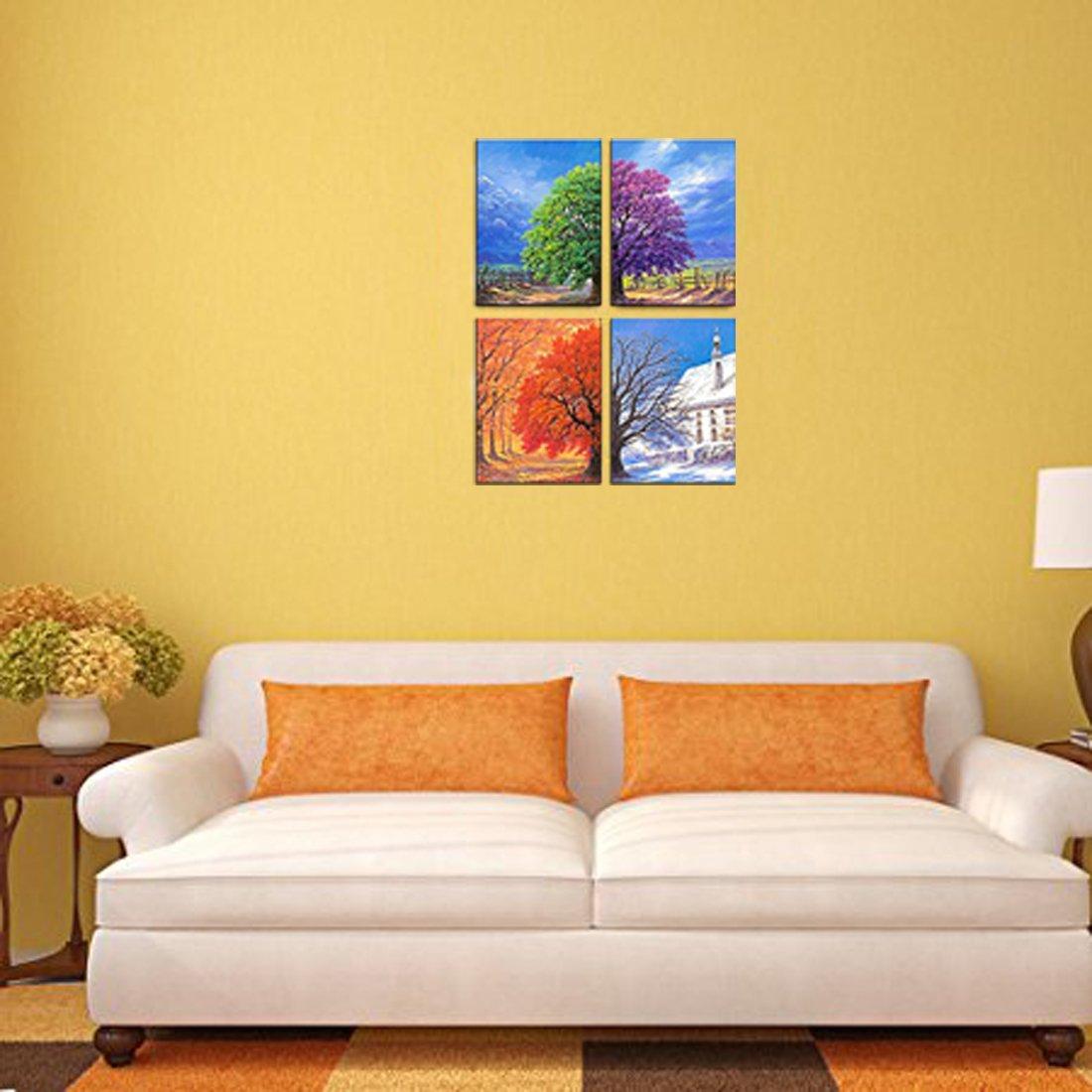 Amazon.com: Wonvatu Art - 4 Seasons Modern Landscape 4 Panels Framed ...