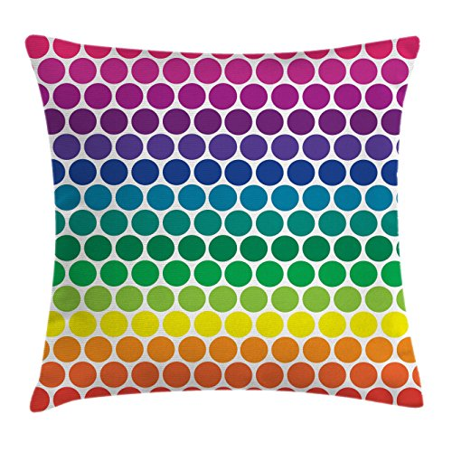 Polka Dots Throw Pillow Cushion Cover by Lunarable, Illustration of Rainbow Colored Dots Big Circles Spots Kids Nursery Theme Print, Decorative Square Accent Pillow Case, 28 X 28 Inches, Multicolor (Pillow Circle Big)