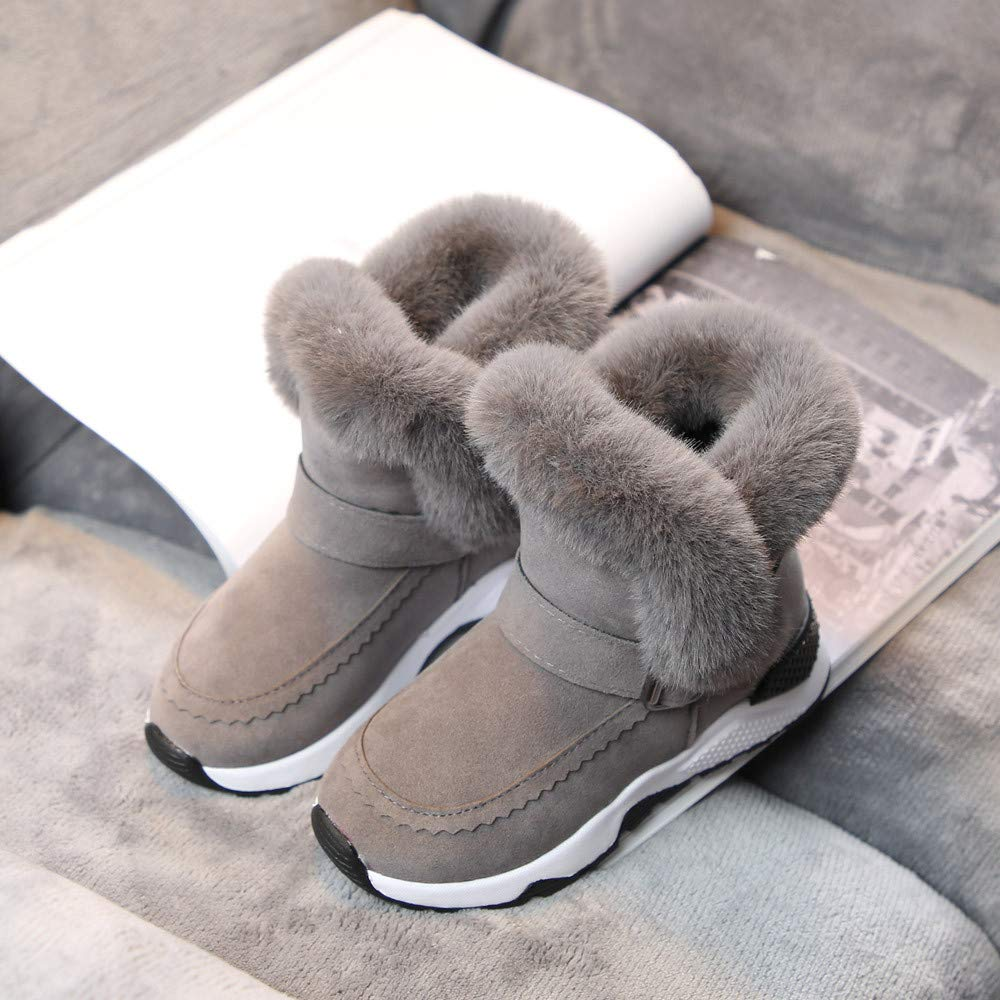 jufengliangyou Fashion Snow Boots Child Baby Baby Boy Girl Fur Fleece Winter Boots Warm Snowshoe Boots US:11.5, Gray