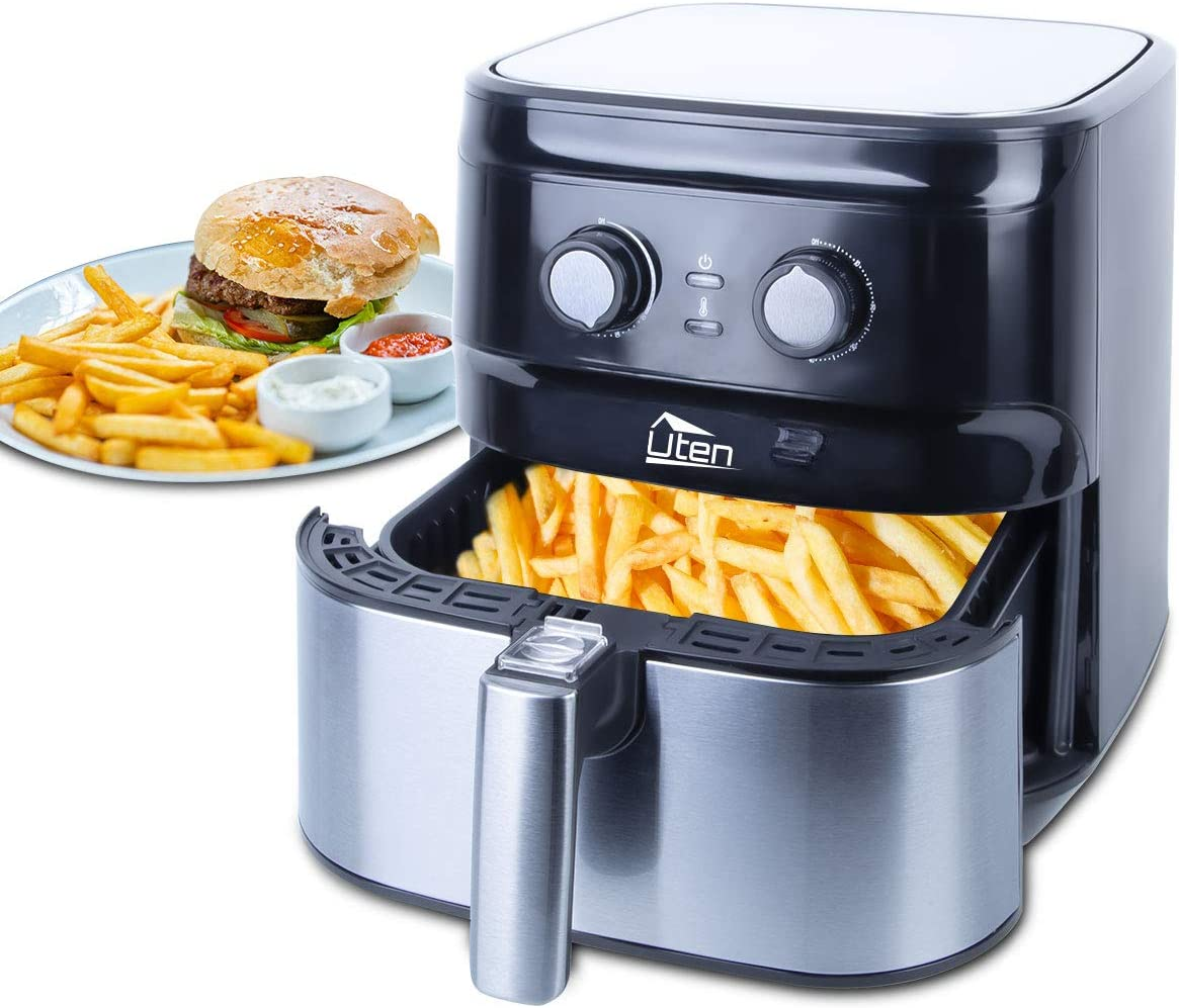 Uten Air Fryer 5.8QT/5.5L, 1700W Electric Hot Air Fryer with Temperature Control & Timer Knob, Fast Oven Oilless Cooker, Non Stick Fry Basket, Dishwasher Safe - Silver