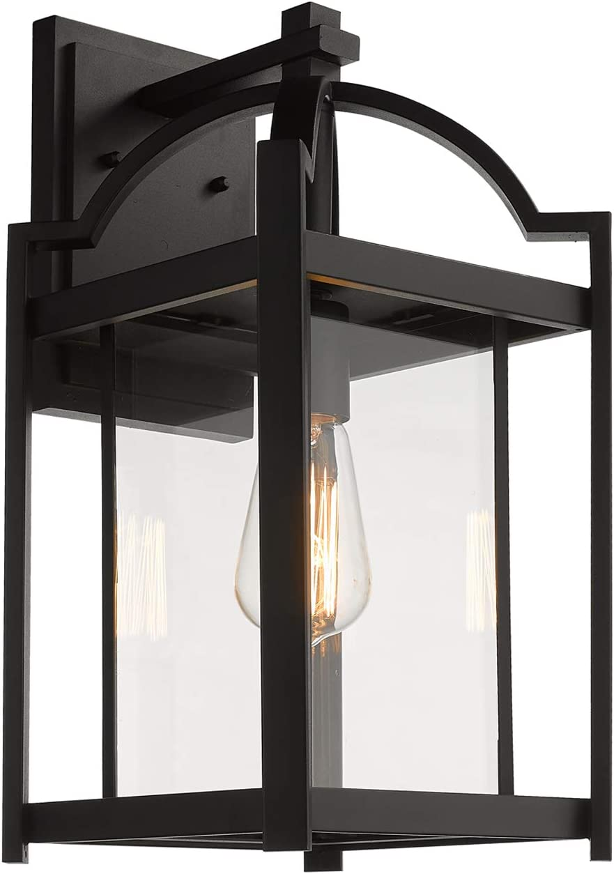 Emliviar Outdoor Wall Lights Exterior Wall Sconce Modern 17 Inch Large Wall Lanterns In Black Finish With Clear Glass 3038b Bk