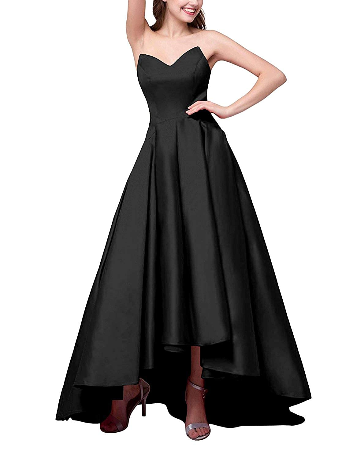 Black ZLQQ Women's V Neck Satin High Low Prom Dresses with Pockets Formal LongEvening Party Gowns