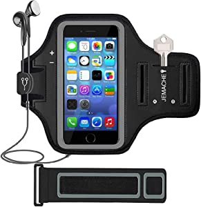 iPhone SE/5/5S Armband, JEMACHE Gym Running/Jogging Exercise/Workout Sport Arm Band Case for iPhone SE 5 5S 5C with Card/Key Holder (Black)