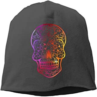 GONIESA Sugar Skull Floral Beanies Caps Skull Hats Unisex Soft Cotton Warm Hedging cap,One Size