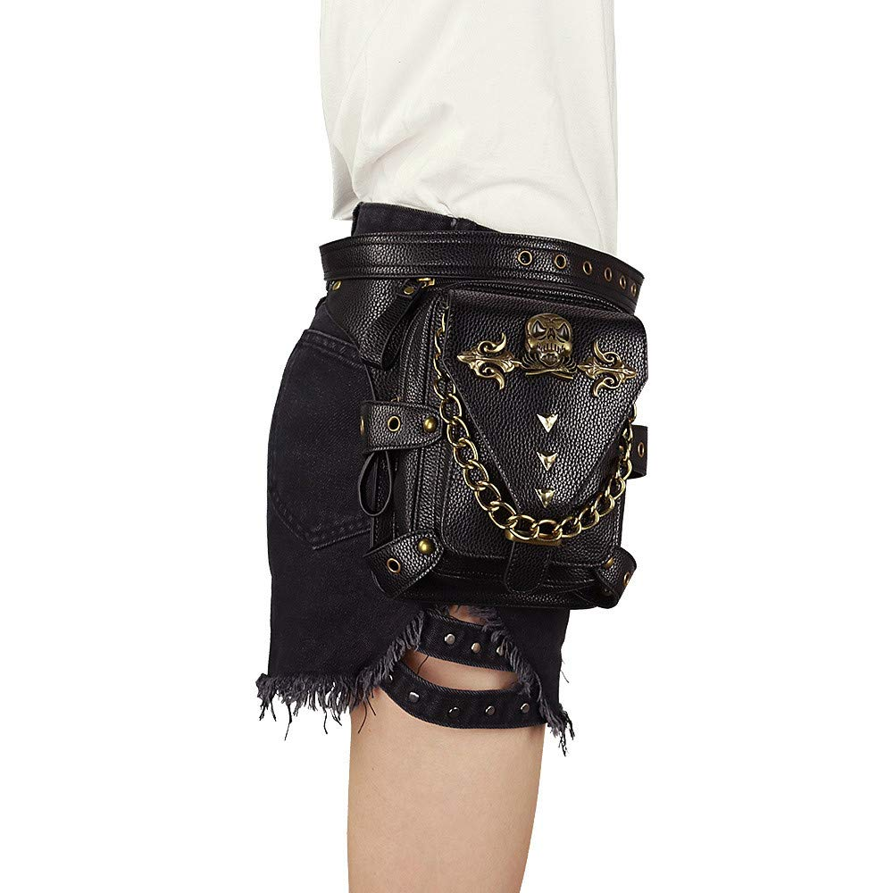 Gothic Steampunk Gürteltasche Oberschenkelholster Taschen Dual-Use Schulter Crossbody Tasche für Nachtclub (Farbe : C)