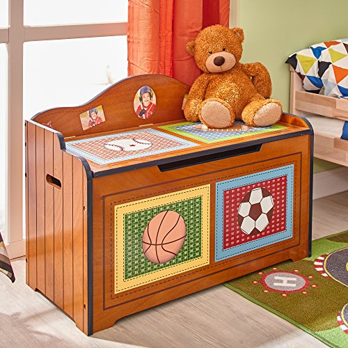 Fantasy Fields Lil' Sports Fan Thematic Kids Wooden Toy Chest with Safety Hinges | Imagination Inspiring Hand Crafted & Hand Painted Details Non-Toxic, Lead Free Water-based Paint