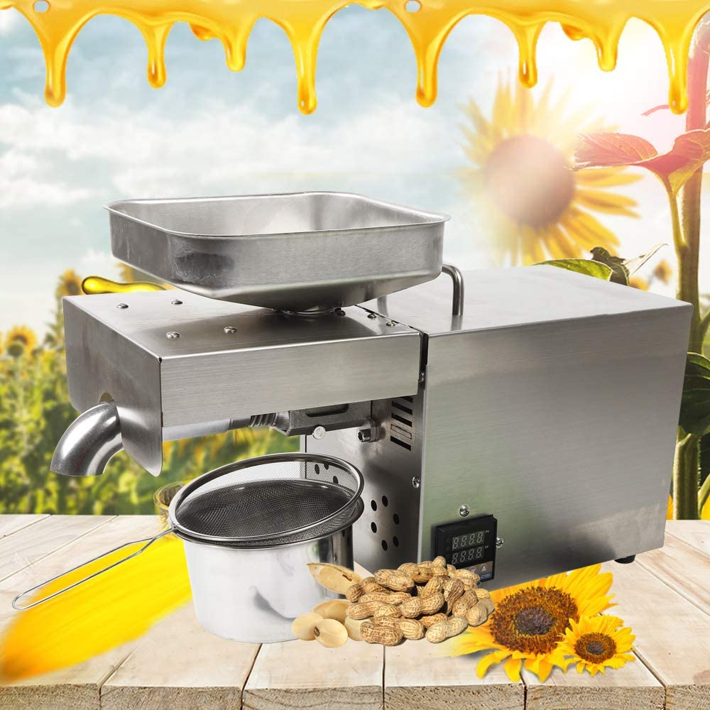 Oil Press Machine 1500W Cold/Hot Press Automatic Nuts Seeds Oil Extractor Organic Oil Expeller Household Commercial Grade Stainless Steel Oil Press Machine Intelligent Control 110V
