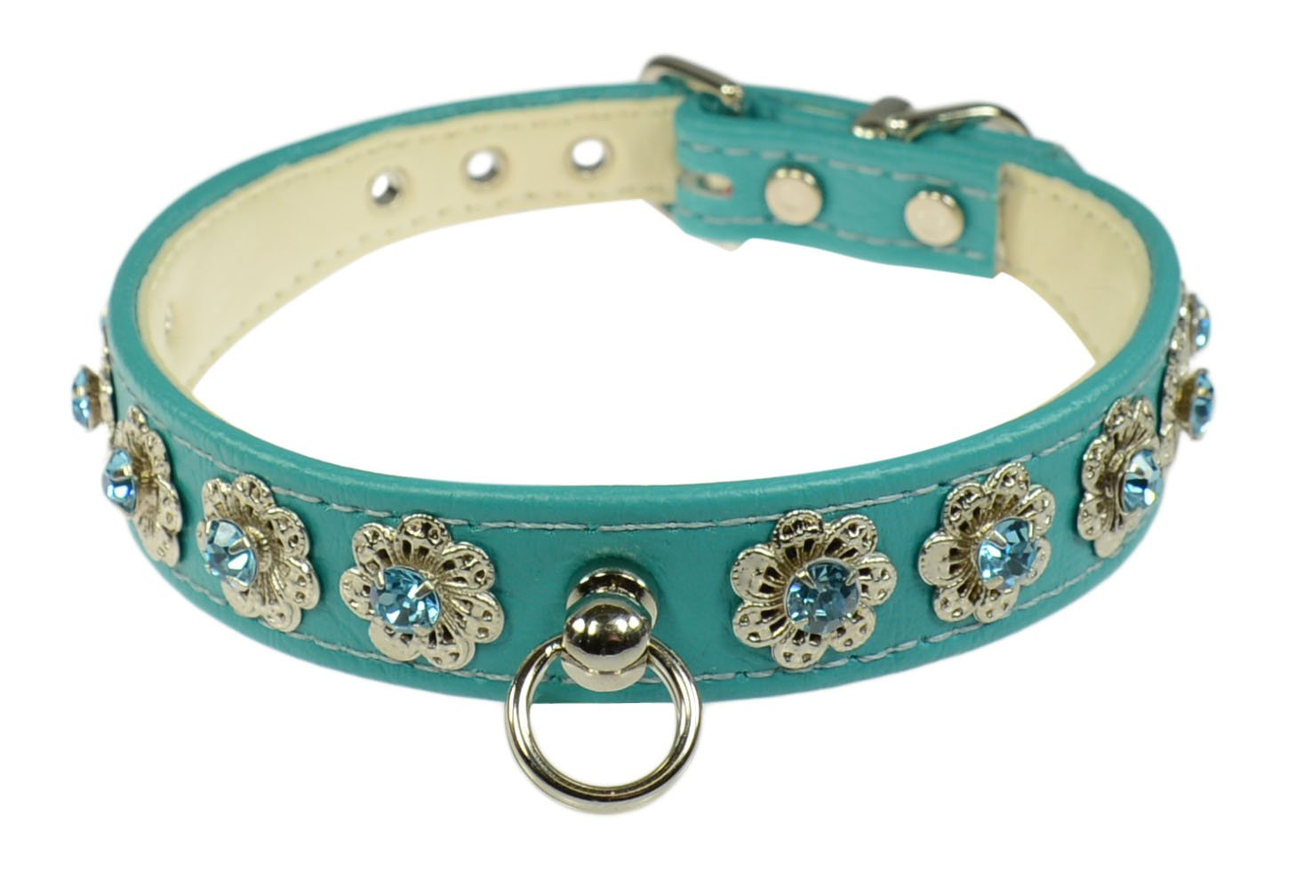 Evans Collars 3 4  Shaped Collar with Starlight Pattern, Size 20, Vinyl, Turquoise