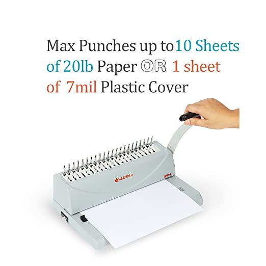 Marigold 19-hole carta Tamaño anillo de peine vinculante máquina Perforadora de papel libro cartón con Starter Kit - 100 1/4