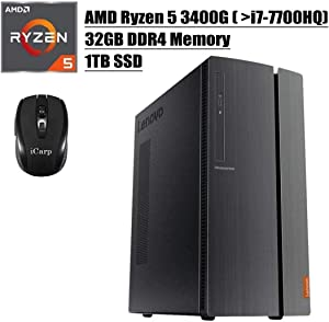 2020 Newest Lenovo IdeaCentre 510A Desktop Computer, AMD Quad-Core Ryzen 5 3400G (Beats i7-7700HQ), 32GB DDR4 1TB SSD, USB 3.0 DVD HDMI WiFi Wired Keyboard and Mouse Win 10 + iCarp Wireless Mouse