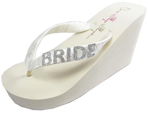 f283ee3752f470 Bridal Flip Flops Bride Bling Glitter Wedge Wedding Platform Sandals Satin Flip  Flops Shoes (8