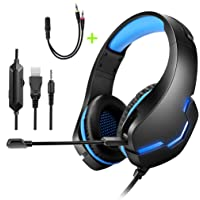 Gaming Headset for PS4, Xbox One, PC&Noise Cancelling Mic&LED Light,50mm Hi-Res,Compatible with Nintendo Switch,Mac…