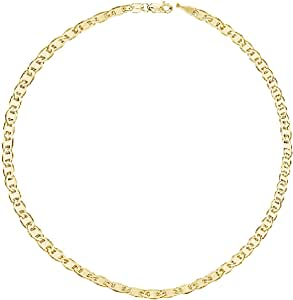 """The Diamond Deal Unisex 14K SOLID Yellow Gold 3.2mm Shiny Mens Mariner-Link Chain Necklace or Bracelet Bangle for Pendants and Charms with Lobster-Claw Clasp (7"""" 10"""", 16"""", 18"""" 20"""" 22"""" or 24 inch)"""