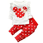 Baby Girl Clothes Infant Outfits Set 2 Pieces Long Sleeved Tops + Pants (3-6 Months, Red)