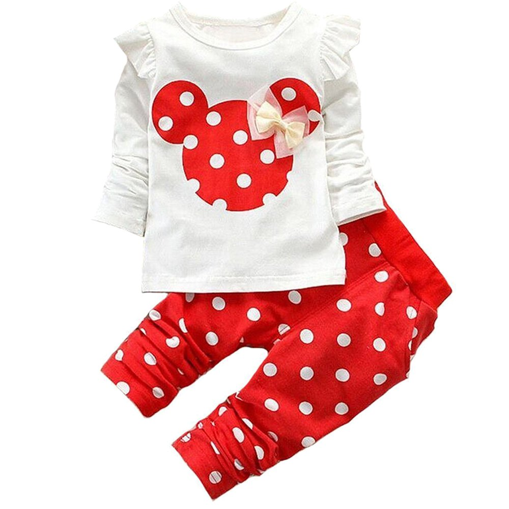 Baby Girl Clothes Infant Outfits Set 2 Pieces Long Sleeved Tops + Pants (2-3 T, Red) by MH-Lucky (Image #1)