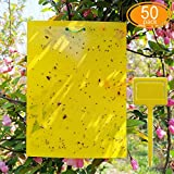 CAERLEEP 50 Sheets Yellow Sticky Traps, Dual-Sided, 8x6 Inch, with Twist Ties and...