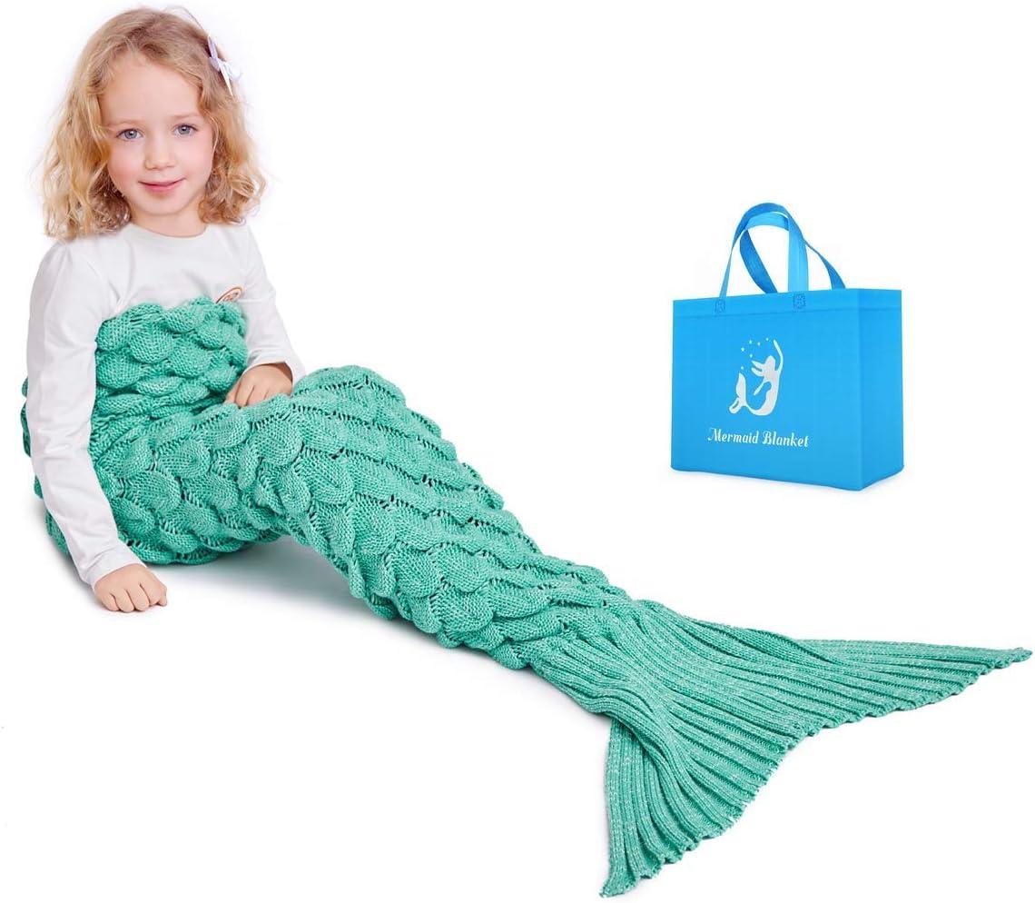 Seablue Kids Mermaid Tail Blanket Am Handmade Knitted Mermaid