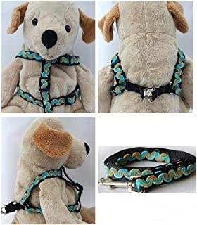 "product image for Diva-Dog 'Waves Beaches' Custom 5/8"" Wide Dog Step-in Harness with Plain or Engraved Buckle, Matching Leash Available - Teacup, XS/S"
