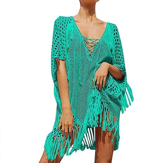 2b8ab7e838372 Women's Crochet Tassel Bikini Cover Up Swimwear Sexy V Neck Lace Up Beach  Dress Hollow Out