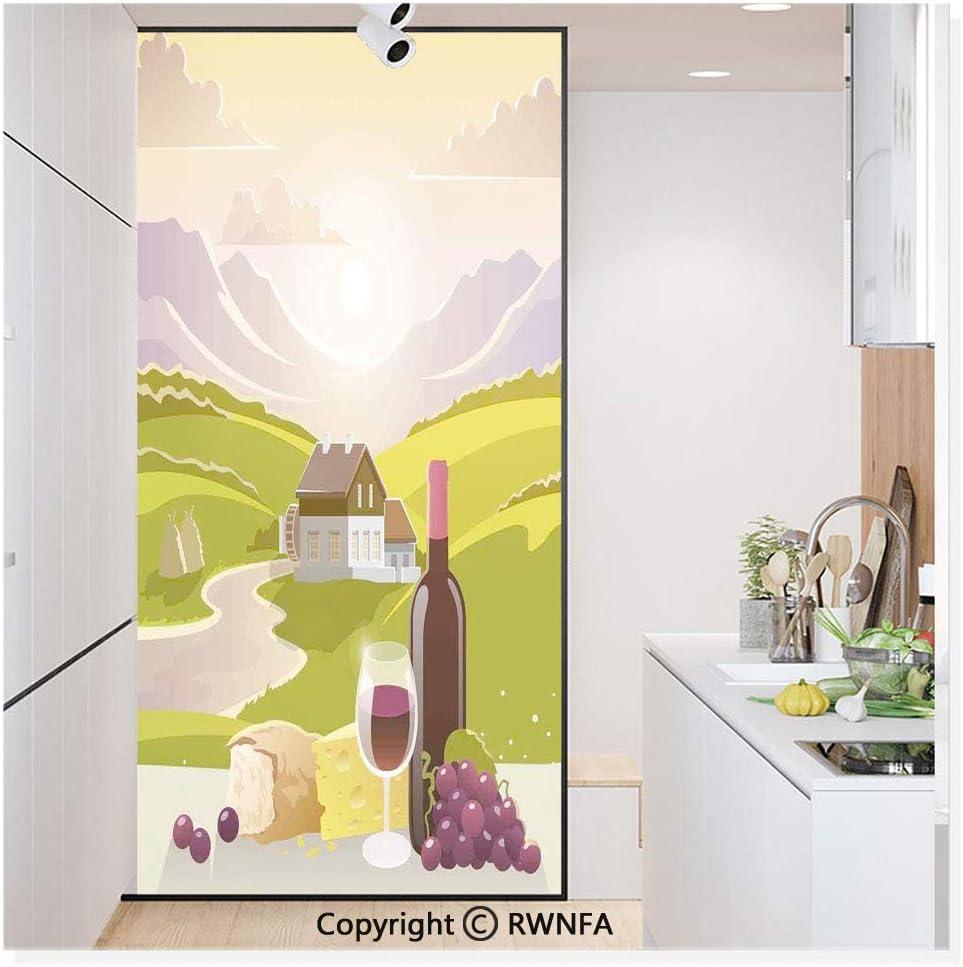 Vinilo adhesivo para ventana de cristal, sin pegamento, para privacidad, decoración de puerta de vino, con frase inspiradora, botella para verter bocetos, arte no adhesivo, para cocina, baño, color rosa coral oscuro:
