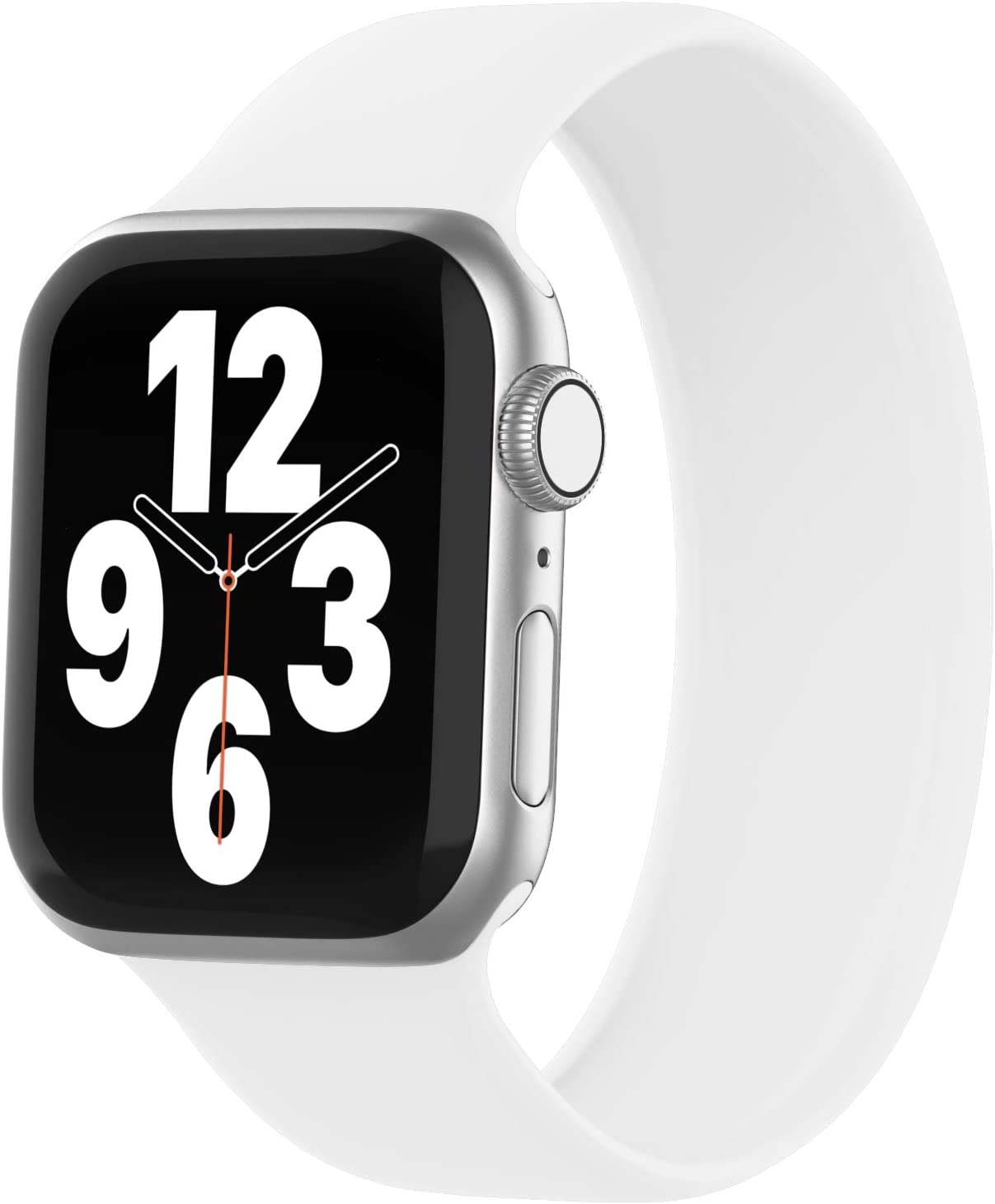 WASPO Solo Loop Band Compatible with Apple Watch Band 38mm 40mm 42mm 44mm, sport Elastic silicone Bands with No clasps or Buckles Compatible for iWatch Series 6/SE/5/4/3/2/1(38mm/40mm-M, White)