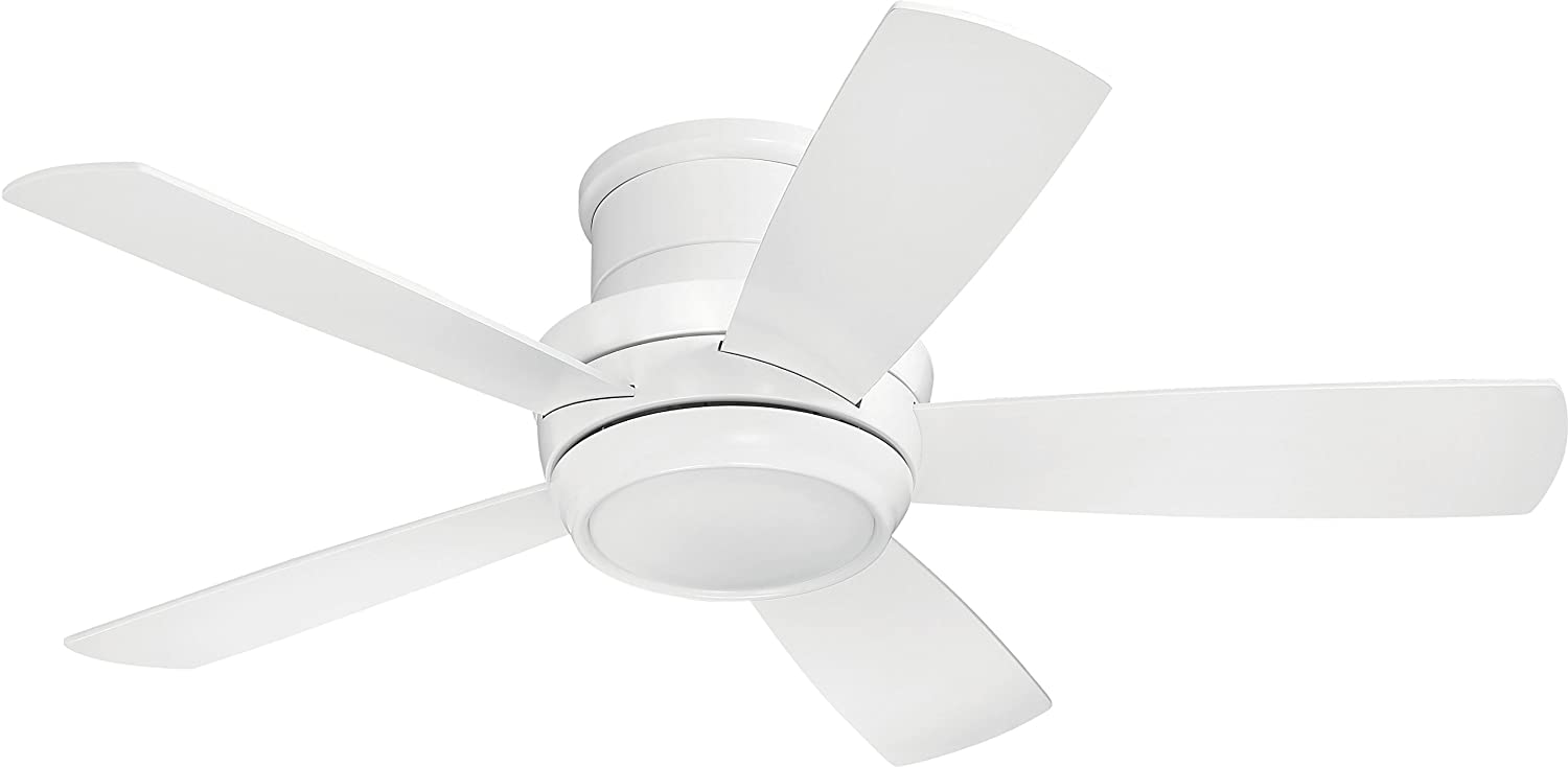 "Craftmade TMPH44W5 Tempo 44"" White Flush Mount Ceiling Fan with"