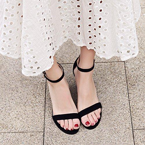 2 Tyk Høje Ord Sommer Hæle Kvindelige Spænde 5 Sandaler Cm Vilde Vivioo Sort fAvnwt8xn