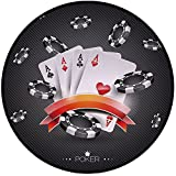 Printing Round Rug,Poker Tournament Decorations,Artistic Display Spread Chips with Poker Cards Lifestyle Decorative Mat Non-Slip Soft Entrance Mat Door Floor Rug Area Rug For Chair Living Room,Black W