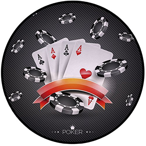 (Printing Round Rug,Poker Tournament Decorations,Artistic Display Spread Chips with Poker Cards Lifestyle Decorative Mat Non-Slip Soft Entrance Mat Door Floor Rug Area Rug For Chair Living Room,Black W)