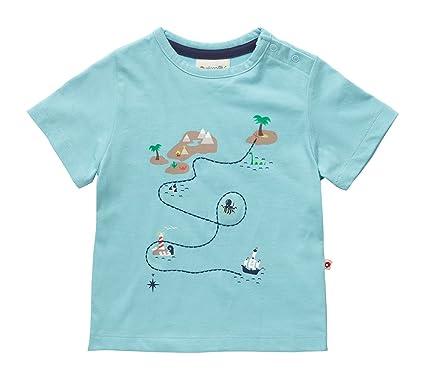 c4a0b2f85 Piccalilly Organic Cotton Baby Boys Blue Short Sleeve Treasure Map Print T- Shirt: Amazon.co.uk: Clothing