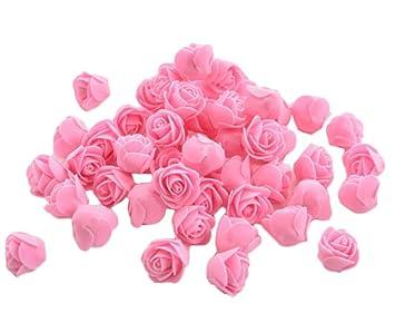 50x Toruiwa Kunstblumen Künstliche Deko Blumen Kleine Blume Mini Rose Für Hochzeitsdeko Karten Diy Basteln Haar Bogen Hut Handwerk Rosa