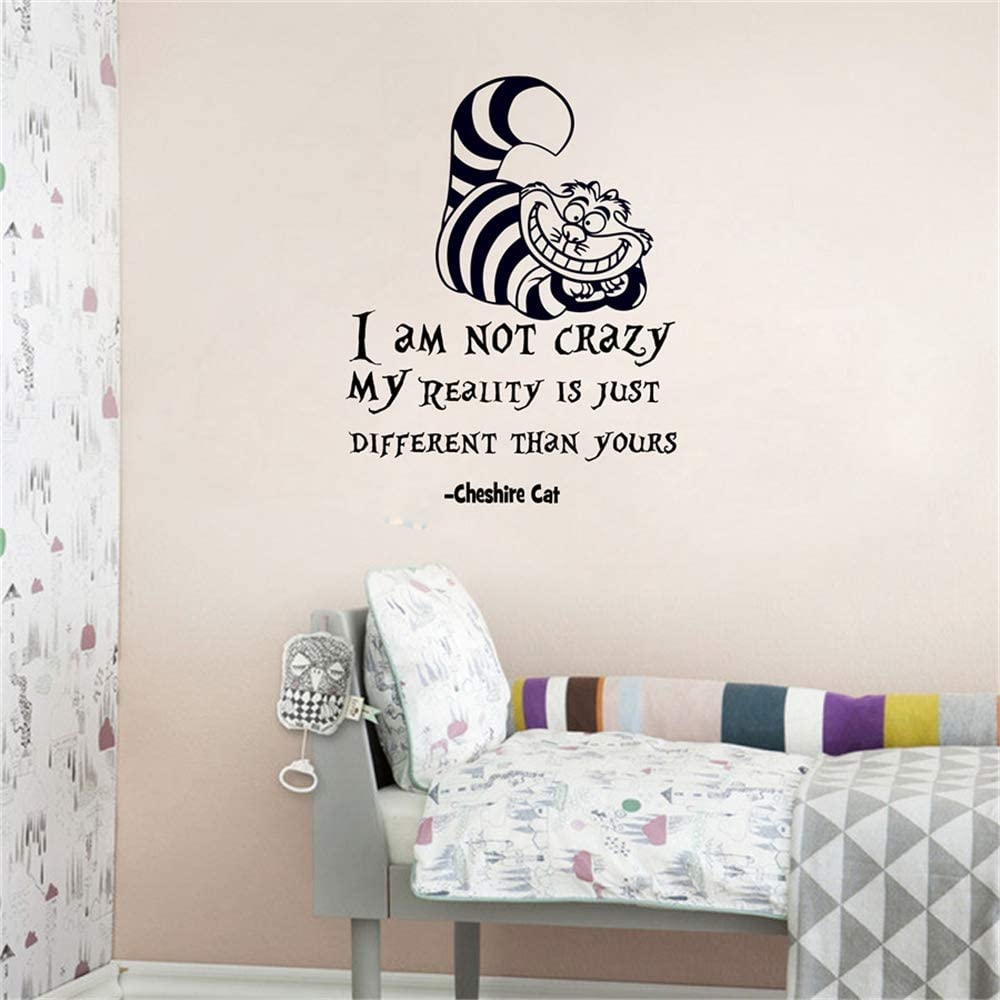 Amazon Com Alice In Wonderland Wall Decal Quote I Am Not Crazy