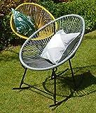 Sue Ryder String Rocking Retro Moon Chair Grey Garden Furniture Seat