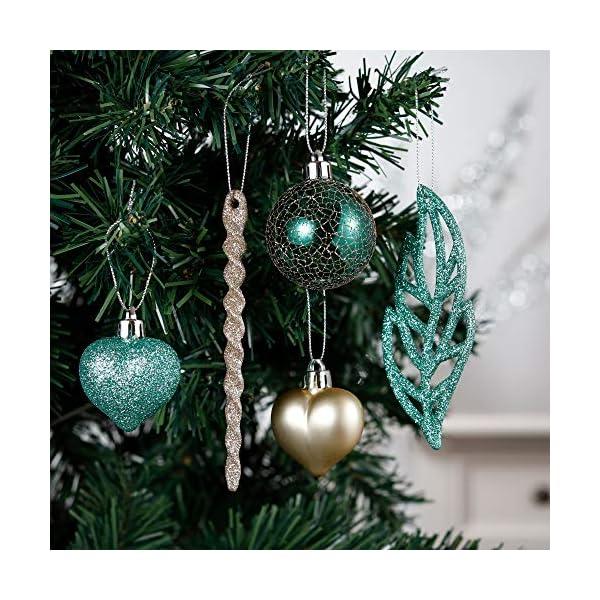 Valery Madelyn Palle di Natale 60 Pezzi di Palline di Natale, 3-5 cm di Carnevale della Foresta Pluviale Verde e Oro Infrangibile Ornamenti di Palla di Natale Decorazione per la Decorazione 4 spesavip