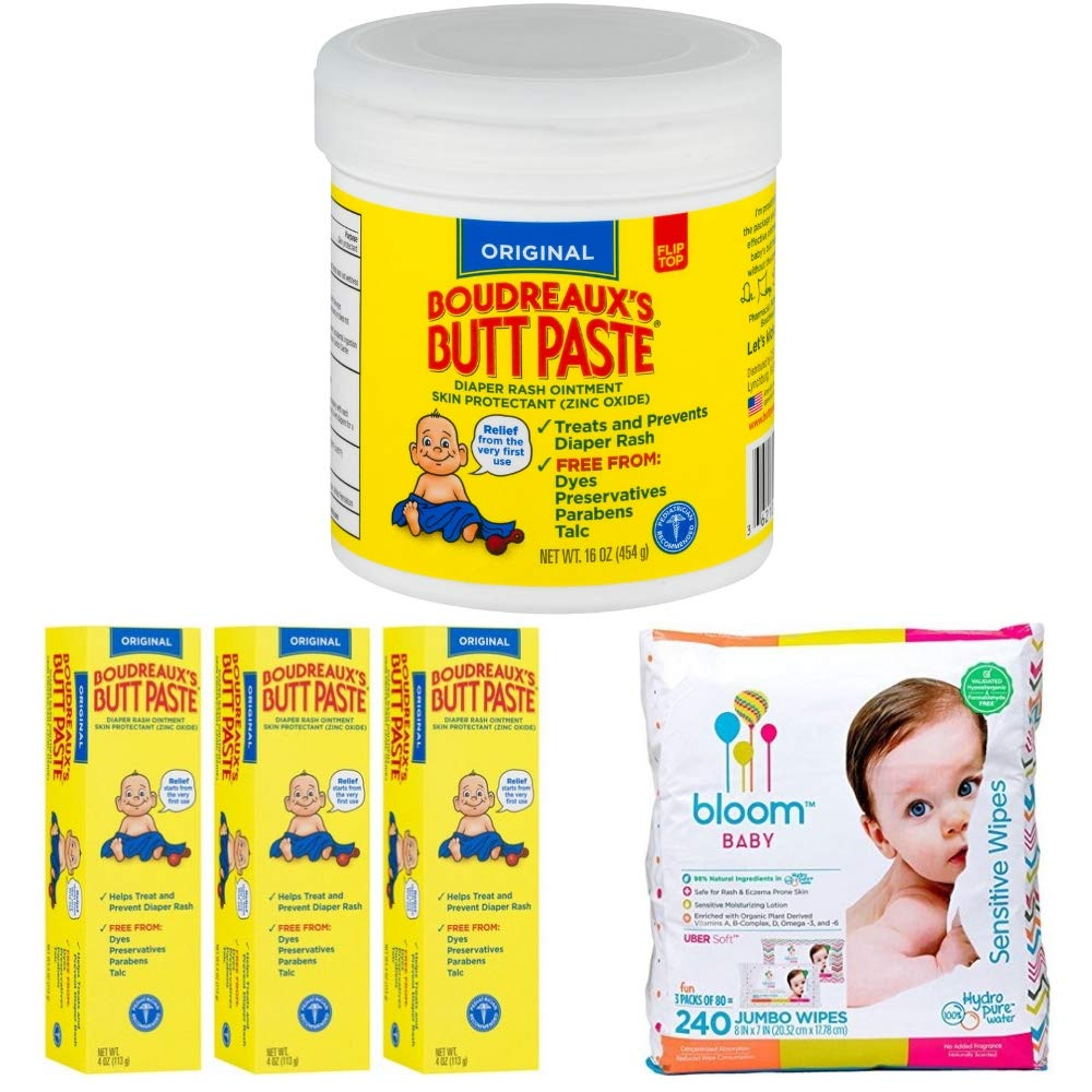 Boudreaux's Butt Paste Diaper Rash Ointment, Original 16 Ounce Bundle with Boudreaux's Butt Paste Diaper Rash Ointment - Original 4 Ounce and Bloom Baby Wipes, Sensitive, Unscented, 3 Packs of 80