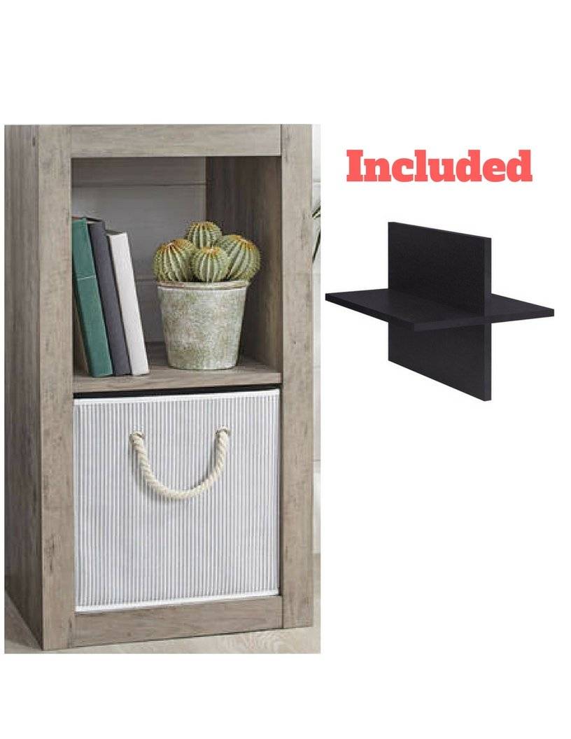 Better Homes and Gardens 2-Cube Organizer in Rustic Gray with Quad Cube Storage Shelf -  - living-room-furniture, living-room, bookcases-bookshelves - 61gIbE0mJmL -