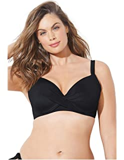 6abf7bdde6f1b Amazon.com: Swimsuits For All Women's Plus Size Longline Bikini Top ...