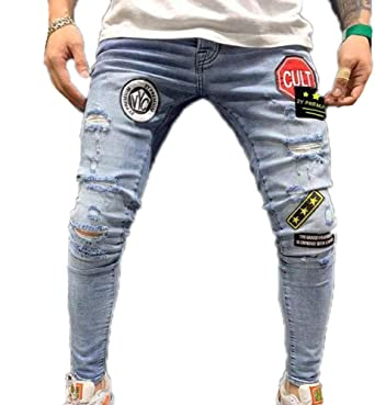 Huateng Pantalones Vaqueros para Hombres Estampado de ...